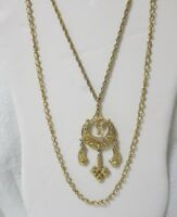 Vintage Gold Tone Two Strand Pendant Necklace