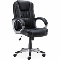 Desk Chair Computer Task Office Black Executive High Back PU Leather Modern New