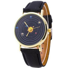 Astronomy Solar System Outer Space Sun Planets Dial Black PU Leather Wrist Watch