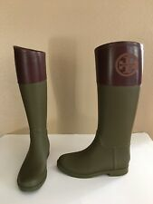 Tory Burch Diana Tall Rain Boots Olive/Burgundy Rubber/ Leather Size 6B US