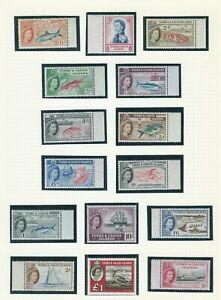 Turks & Caicos Is 1957-60  QE2 1st Definitive Pictorial Set Sc#121-35 MNH