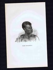 NEGRE MOZAMBIQUE - Negro Natives - Antique Ethnic Print 1845
