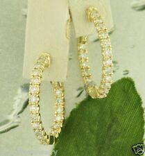 2.00 ct 14k Solid Yellow Gold Natural Diamond Earring Hoop Earrings Snap Closure