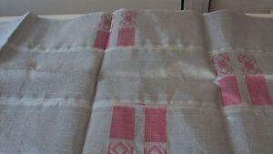 Nigerian Aso Oke Gele (Headtie) Silver with Pink Patterns 1 Piece