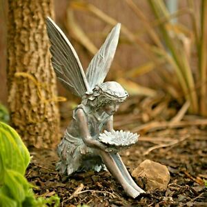 Large Bronze Effect Sitting Fairy Garden Ornaments Elf Figures Indoor/Outdoor