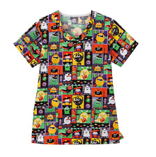 {4XL} Bio Medical Uniform Scrub Top Silly Creatures Halloween V-Neck