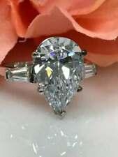 3.39Ct White Pear Diamond Engagement Wedding 3 Stone Ring Solid 14K White Gold