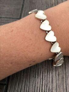 """Smooth Sterling Silver 925 Heart Love Link Bracelet 32gr 7.75"""""""