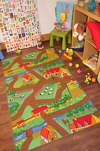 Children's Tractor Mat Bright Farm Life Rug Country Kids Animal Fields Rugs