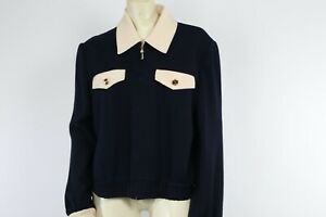 ST. JOHN by Marie Gray Navy Ivory Zipper Knitted Sweater Cardigan Size M