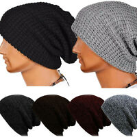 Mens Womens Knit Baggy Beanie Winter Hats Ski Slouchy Knitted Oversize Cap Skull