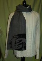 """NWT DIESEL unisex black grey scarf 12"""" x 63"""""""