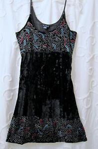 Dress Hippie BOHO Embroidered Festival Black Rayon Velvet Medium Sacred Threads