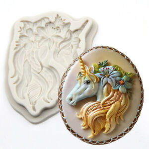 Silicone Unicorn Head Horn Cake Fondant Mold Horse Animal Flower Baking Mould UK