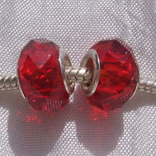 2 CHARMS PERLE RONDELLE DONUT VERRE ROUGE TAILLE METAL ARGENTE *D641