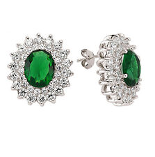 Emerald Earrings Silver Cluster Stud Sterling Silver Studs 21 x 19mm