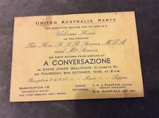 Invitation to Welcome Home Event for Premier B.S.B. Stevens - Sydney - 1936