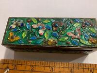 Vintage Brass And Enamel Trinket Box. Cloisonné Heavy Weight Small Box China