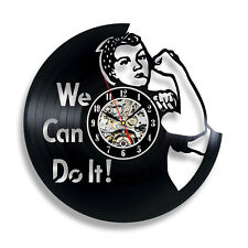 Rosie The Riveter Quote Vintage Vinyl Record Wall Clock Creative Modern Design