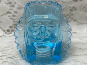 Blue Vaseline glass Indian head toothpick holder uranium / native American chief