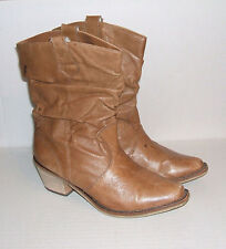 Steve Madden Women's P-Wesst Camel Leather Western Pull-On Slouch Boots 6.5 Sale