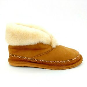Lands End Womens Ankle Bootie Slipper Shearling Trim & Lined Tan Suede 10B NEW