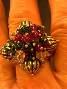 Andreoli 18K Ruby Sapphire and emerald cocktail ring 5.25