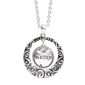 BLESSED Round Textured Pendant Necklace Silver NEW