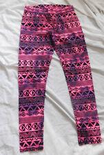 So Girls Bright Pink Purple Black Peace & Print Stretch Leggings Pants Size 12