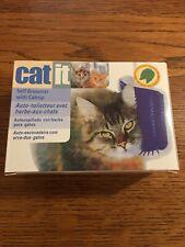 Cat Self Groomer With Catnip & Flat Or Corner Mount Brush Blue Kitty Groom Catit
