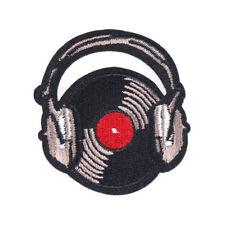 VINYL RECORD EARPHONES DJ IRON ON BADGE SEW ON PATCH