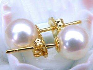 Round AAA+++ 7-8 mm white akoya perfect pearl earring 14k yellow gold stud