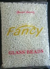 FANCY GLASS BEADS WHITE/CUENTAS DE CRISTAL BLANCAS ELEKES COLLARES SANTERIA 1LB.