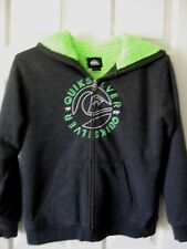 Boys Quicksilver Black Zippered Hoodie w/Neon Green Fluffy Lining Size M 10-12
