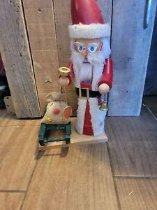 "Steinbach Nutcracker Musical Santa Claus Piano 641 Germany Box Signed Sled 17"""
