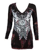 Sugar Rock Women Tunic Hoodie Shirt L/s Tribal Rhinestone in Tie Dye Black Red