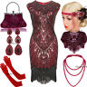 1920s Flapper Vintage Great Gatsby Dress Tassel Fringe 20s Party Red Costumes
