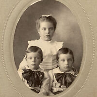 Antique Cabinet Card Photo Adorable Children Matching Twin Boys Girl Family