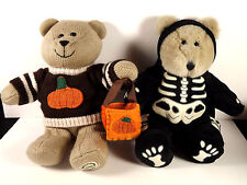 Starbucks Halloween Bearista Bears 1999 Skeleton Glows 2009 Sweater Bag Pair