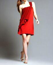 $395 Diane Von Furstenberg Valetta Red Silk Satin One Shoulder Short Dress 4 S