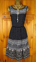 NEW M&S SUMMER DRESS PER UNA BLACK BROWN IVORY WHITE TRIBAL  UK 6 TO 18 RRP £69