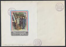 1972 Ras al Khaima FDC Visit of Pompidou Cape Kennedy Space M/S white [brd732]