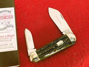 Schatt & Morgan USA Mossy Bone 042213 Elephant Toe Wildcat Driller Knife MINT ld