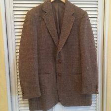 Vintage Mens 38R Redwood & Ross Harris Tweed Brown Jacket Blazer Coat Check