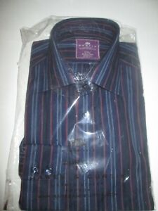 NEW & SEALED MENS  HAWES & CURTIS BRANDON MULTI  STRIPE NAVY & RED  SHIRT SMALL