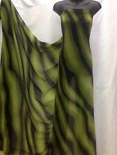 Designer Black / Olive Green  Chiffon Print Fabric Dress Craft wedding light