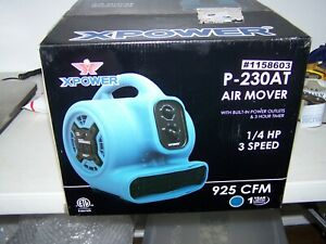 Xpower P-230AT-BLUE P-230AT 1/4 HP 925 CFM 3-Speed Mini Air Mover/Floor Blower
