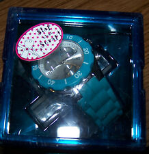 "FYZZ Jelly Chronograph Analog Watch -3 Subdials Turquoise Band - 0.75""  w/ Case"