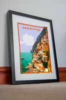 Italy Amalfi Print Poster travel coast Italia Vintage Artwork Picture home decor