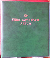 CROWN FIRST DAY COVER ALBUM 3 Ring BINDER GREEN Colour with 12 assorted PAGES